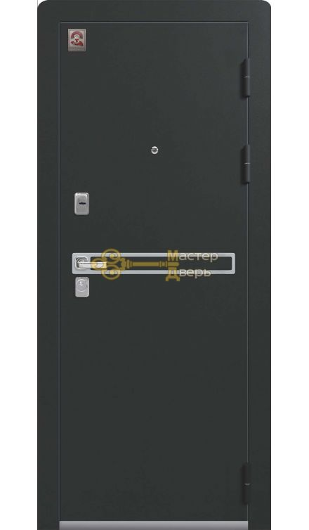 Входная дверь Центурион LUX-3, 2 замка, 2 мм металл, (чёрный муар+лиственница светлая)