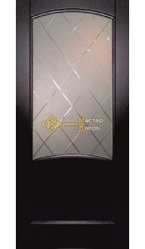Криста Лайт, стекло гравировка Готика белое, тонированный чёрный дуб