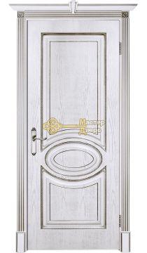 Престижио Лувр-4, цвет шпон эмаль белая/патина серебро, глухая