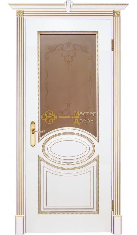 Престижио Лувр-4, цвет шпон эмаль белая/патина золото, остекленная