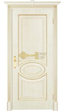 Престижио Лувр-4, цвет шпон эмаль слоновая кость/патина золото, глухая
