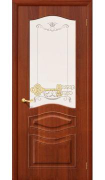 Дверь межкомнатная Дера Леона. Итальянский орех, остекленная