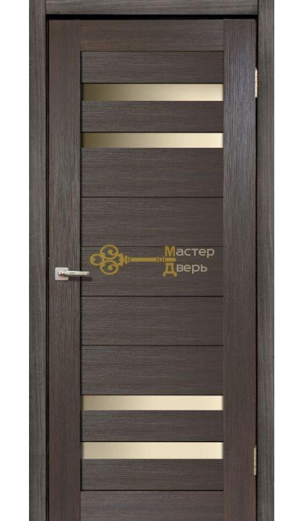 Дверь межкомнатная Экошпон Дера Мастер 636. Стекло белое, цвет венге.