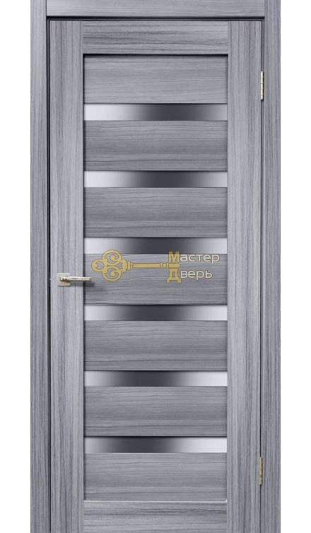 Дверь межкомнатная Экошпон Дера Мастер 643. Стекло белое, цвет сандал серый.