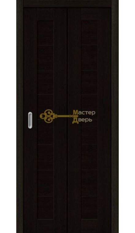 Дверь складная Дубрава Сибирь. Глухое,  цвет акация чёрная.