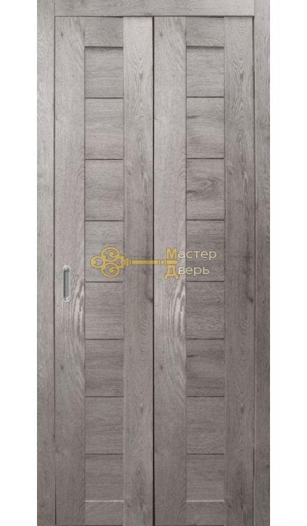 Дверь складная Дубрава Сибирь. Цвет дуб дымчатый, глухая.