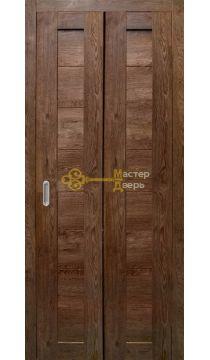 Дверь складная Дубрава Сибирь. Цвет дуб шоколадный, глухая.