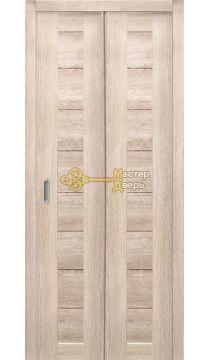 Дверь складная Дубрава Сибирь. Цвет лиственница кремовая, глухая.