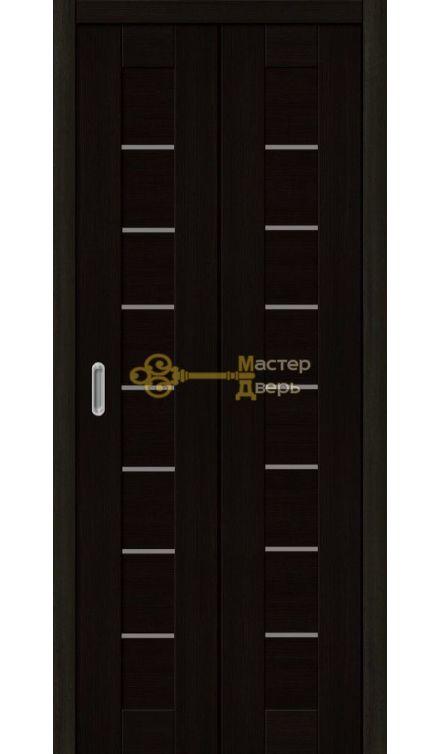 Дверь складная Дубрава Сибирь Линия .Стекло матовое, акация чёрная.