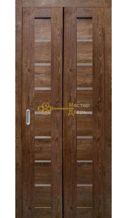 Дверь складная Дубрава Сибирь Линия. Стекло матовое, цвет дуб шоколадный.
