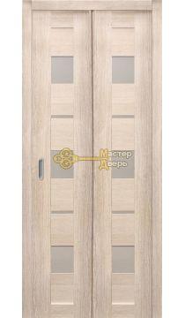 Дверь складная Дубрава Сибирь Параллель (2 полотна + 2 петли). Стекло матовое, цвет лиственница кремовая.