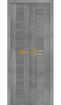 Дверь складная Дубрава Сибирь (2 полотна + 2 петли), цвет дуб грей, глухая.