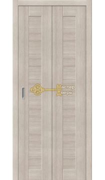 Дверь складная Дубрава Сибирь (2 полотна + 2 петли). Цвет лиственница, глухая.