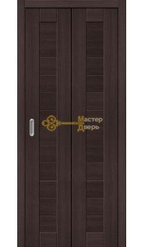 Дверь складная Дубрава Сибирь. Глухое (2 полотна + 2 петли), цвет орех тёмный, , цвет орех тёмный.