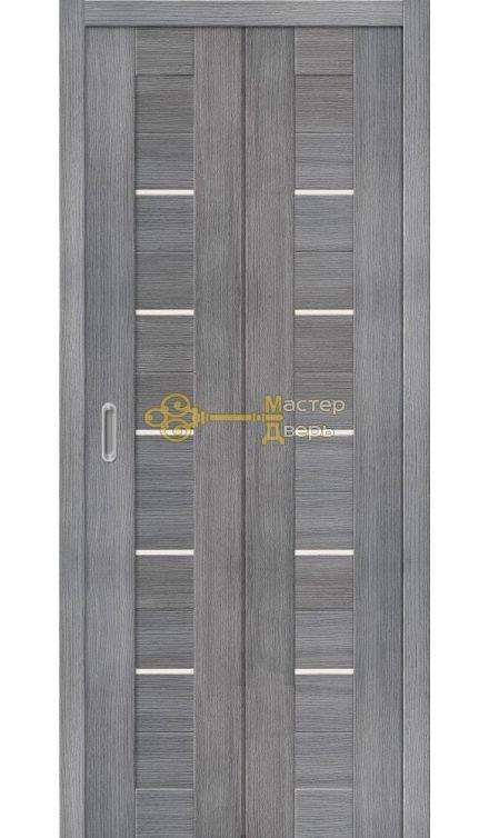 Дверь складная Дубрава Сибирь Линия (2 полотна + 2 петли), стекло матовое, цвет дуб грей.