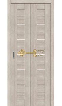Дверь складная Дубрава Сибирь Линия (2 полотна + 2 петли), стекло матовое, цвет лиственница.