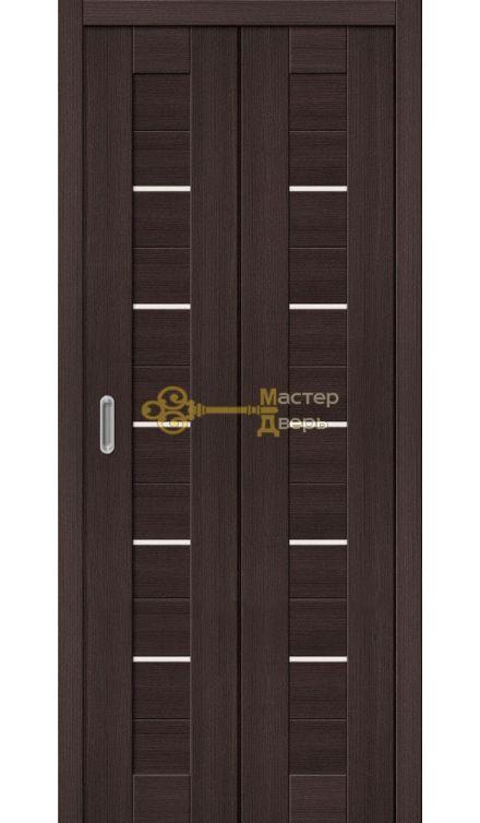 Дверь складная Дубрава Сибирь Линия (2 полотна + 2 петли), стекло матовое, цвет орех тёмный.