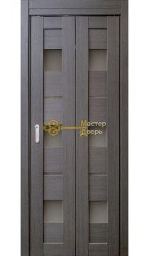 Дверь складная Дубрава Сибирь Параллель (2 полотна + 2 петли), стекло матовое, цвет дуб грей.