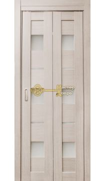 Дверь складная Дубрава Сибирь Параллель (2 полотна + 2 петли), стекло матовое, цвет лиственница.