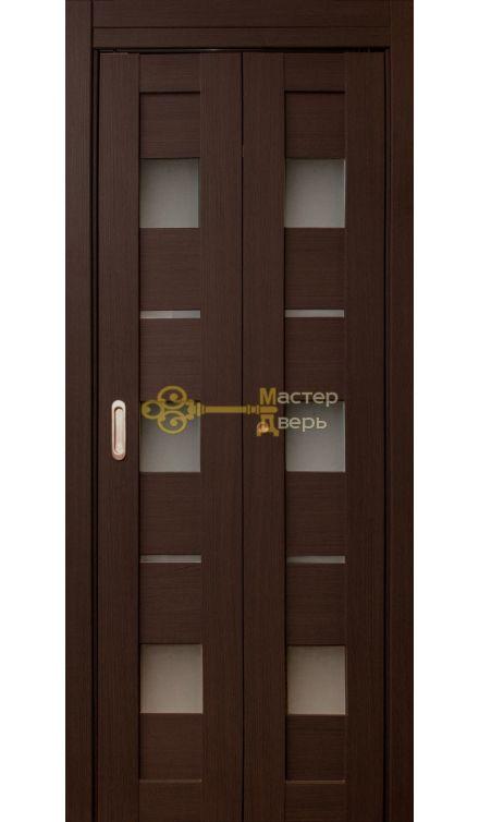 Дверь складная Дубрава Сибирь Параллель (2 полотна + 2 петли), стекло матовое, цвет орех тёмный.