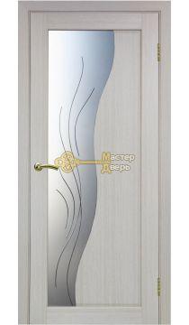Экошпон Optima Porte, Сицилия 720.21, белёный дуб, стекло Мателюкс, линии.