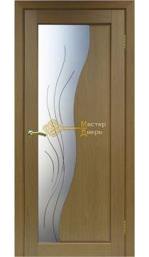 Экошпон Optima Porte, Сицилия 720.21, орех классик, стекло Мателюкс, линии.