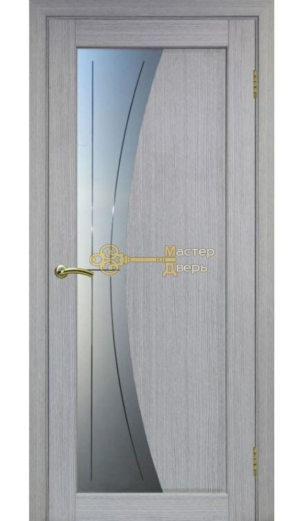 Экошпон, Optima Porte, Сицилия 721.21, дуб серый, стекло Мателюкс, линии.