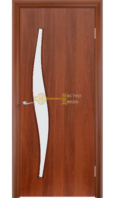 Дверь ламинированная Волна С-10, итальянский орех.