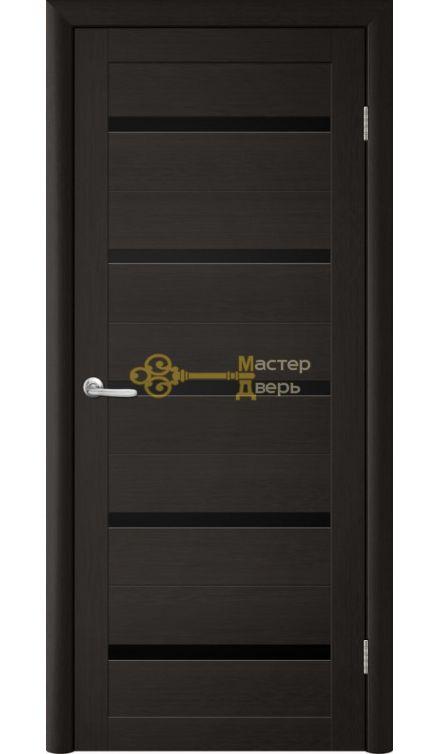 Дверь TrendDoors TDT-2 стекло чёрное, цвет лиственница тёмная.
