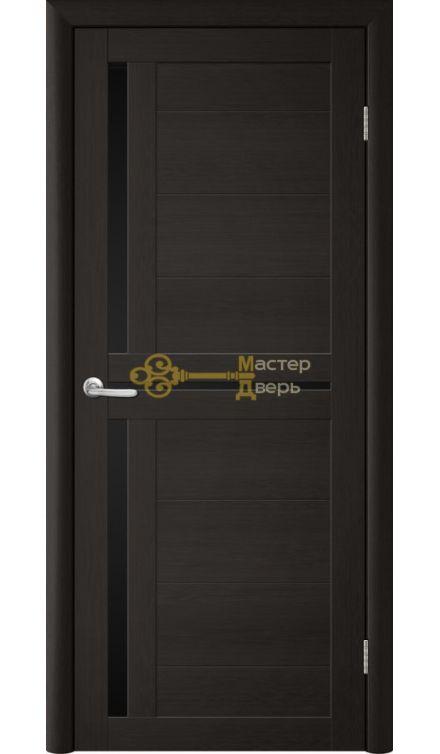 Дверь TrendDoors TDT-5 стекло чёрное, цвет лиственница тёмная.