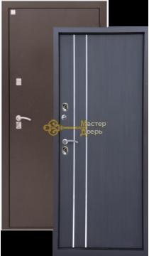 Дверь Алмаз, Алмаз Термо, 2 заика, 1,5мм сталь, (медь антик+венге)