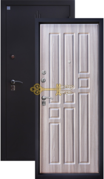 Дверь Алмаз, Топаз 2, 2 замка, 1,5мм сталь, (чёрный шёлк+серый холст)