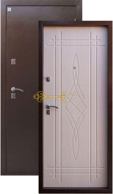 Дверь Алмаз, Лазурит 2, 2 заика, 1,5мм сталь, (медь антик+белёный дуб)