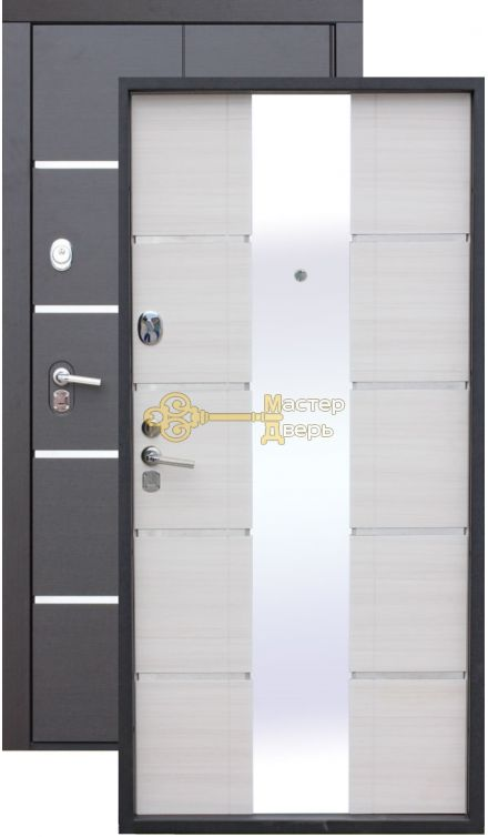 Сейф-дверь входная  Alta Tech, 2 замка, 1,8 мм металл, венге+ясень белый.