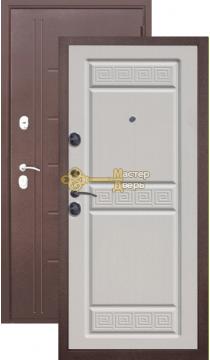 Тёплая дверь Троя 10 см , 2 замка, 1,4 мм металл, медь антик+белый ясень.