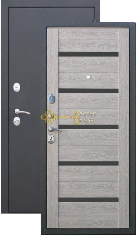 Тёплая дверь Троя 10 см , 2 замка, 1,4 мм металл, серебро антик+дуб дымчатый.