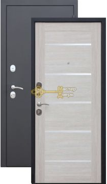 Тёплая дверь Троя 10 см царга. 2 замка, 1,4 мм металл, серебро+лиственница беж.