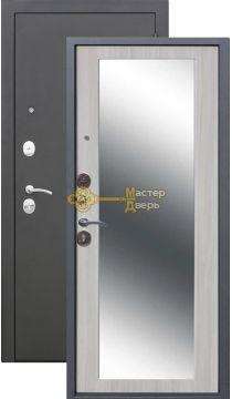 Тёплая дверь Троя 10 см MAXI зеркало, 2 замка, 1,4 мм металл, серебро антик+дуб сонома.