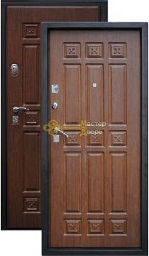 Дверь Город Мастеров, Алдан, 2 замка, 1,5мм сталь, (коричневый металлик+итальянский орех)