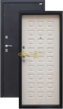 Дверь Город Мастеров, Виктория, 2 замка, 1,5мм сталь, (чёрный металлик+белёный дуб)
