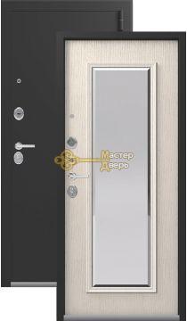 Тёплая входная дверь Легион L-1. 2 замка, 1,5 мм металл, чёрный муар+патина крем.