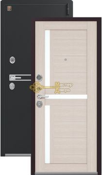 Теплая входная дверь Легион L-3. 2 замка, 1,8 мм металл, чёрный муар+лиственница светлая.