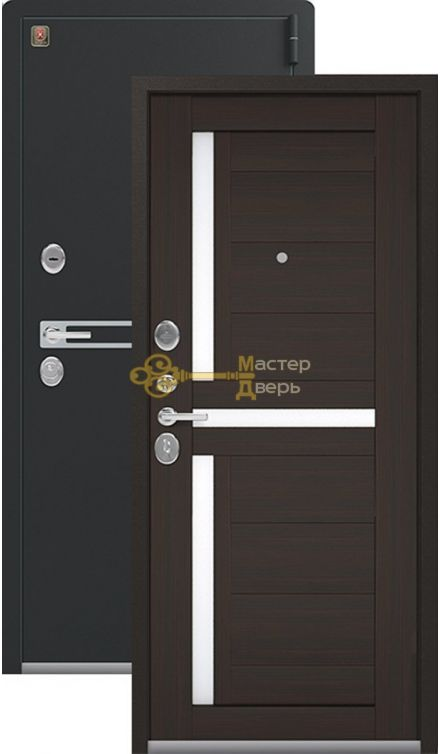 Тёплая входная дверь Легион L-3. 2 замка, 1,8 мм металл, чёрный муар+венге шоколад.