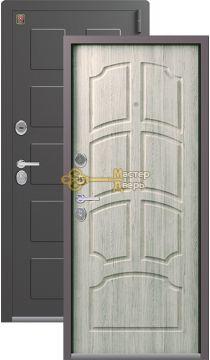 Тёплая входная дверь Легион L-5, 2 замка. 1,5 мм металл, серый шёлк+полярный дуб.