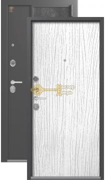 Тёплая входная дверь Легион L-7. 2 замка, 1,5 мм металл, серый шёлк+белое дерево.