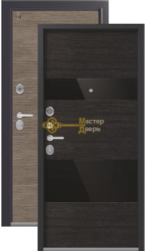 Тёплая входная дверь Легион L-8. 2 замка, 1,5 мм металл, серый шёлк+орех премиум.