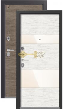 Тёплая входная дверь Легион L-8. 2 замка, 1,5 мм металл, серый шёлк+патина крем.