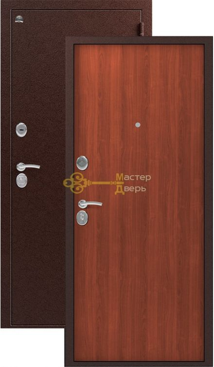 Дверь Сибирь, S-1, 2 замка, 1мм сталь, (медь+итальянский орех)