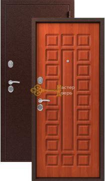 Дверь Сибирь, S-2, 2 замка, 1,5мм сталь, (медь+итальянский орех)