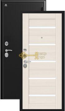 Дверь Сибирь, S-7, 2 замка, 1мм сталь, (чёрный шёлк+лиственница светлая)